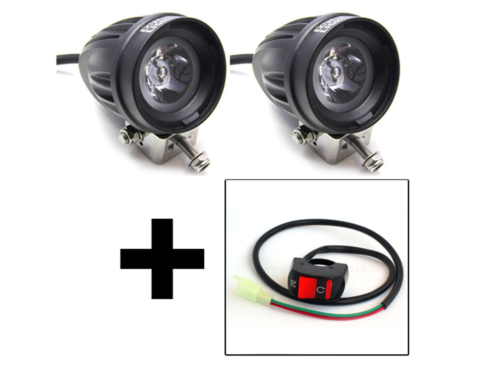 Led Motorcycle Spot Light Set 10w Switch Combo 12 Month